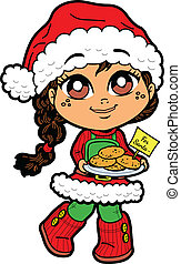 Girl With Cookies For Santa - Cute Young Girl With Cookies...