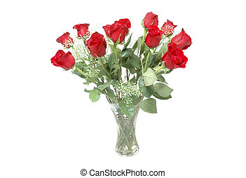 Roses for valentines - Beautiful red roses with bay\\\'s...
