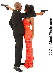 Attractive Sexy Black Couple with Handguns
