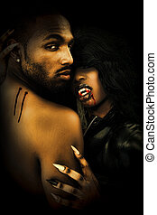 Sexy Black Vampire Couple Embrasing in Dark