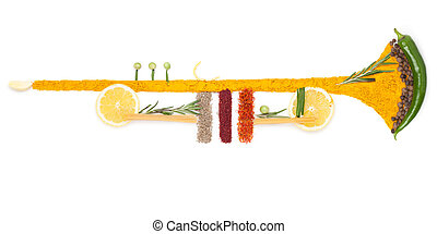 The brass of diet. - A colourful photo of the trumpet made...