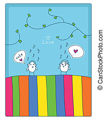 music and love - birds, music and love. cheerful card. two...