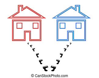 Divorce - Two houses with footprints starting out together...