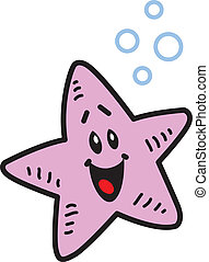 Happy Starfish - Happy Smiling Starfish and Bubbles
