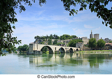 Avignon, France - Avignons bridge and The Popes Palace in...