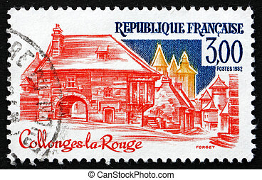 Postage stamp France 1982 Collonges-la-Rouge, Correze -...