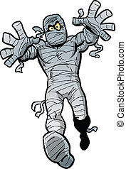 Mad Mummy - Mad Cartoon Mummy Waking Towards You