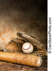 Antique baseball gear - Baseball bat with ball and old...