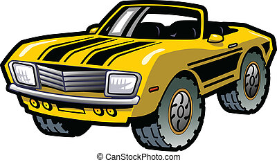 Muscle Car - Cool Retro Yellow Convertible Muscle Car With...