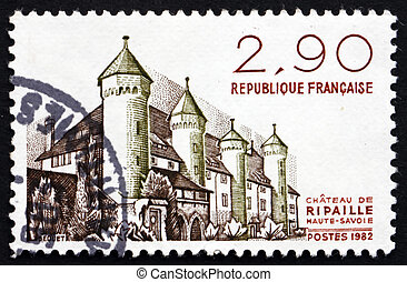 Postage stamp France 1982 Chateau Ripaille, Haute-Savoie -...
