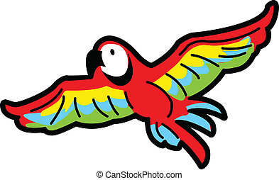 Flying Parrot - Colorful Tropical Macaw Parrot Flying