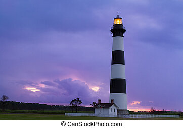 Lighthouse at Dawn - The Bodie Island Lighthouse, at Cape...