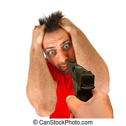Man threatened with a gun on white background