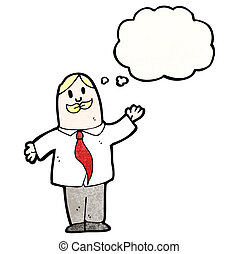 cartoon businessman waving with thought bubble