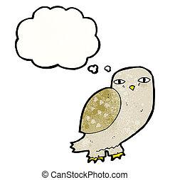 pensamiento, búho, sabio, caricatura, burbuja
