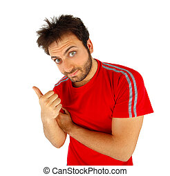 Man pointing with red t-shirt on white background