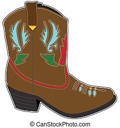 Cowboy Boots Short - A single brown short cowboy boot with a...