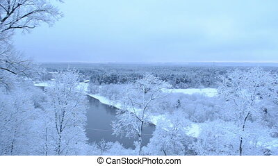 panorama river snow trees - panoramic view scene of neris...