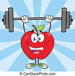 Happy Apple Lifting Weights - Happy Apple Cartoon Character...