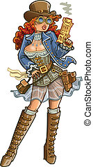 Sexy Steampunk Gunslinger - Sexy Female Steampunk Gunslinger...