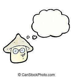 cartoon magic mushroom character with thought bubble