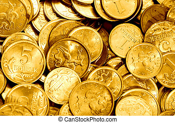 coins - golden coins financial background macro close up