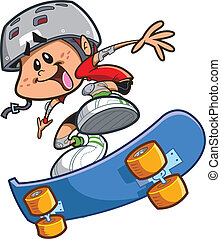 Skateboard Boy With Helmet - Happy Cartoon Skateboard Boy...