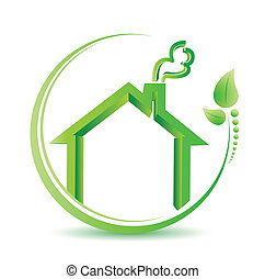 eco friendly home environment solution sign illustration...