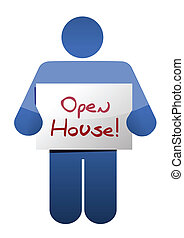 icon holding an open house sign illustration