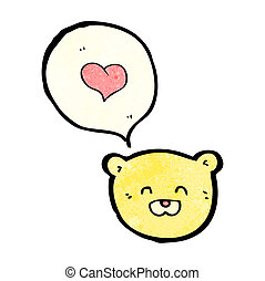cartoon teddy bear face with love heart