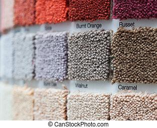 Tienda, venta al por menor, exhibición, alfombra