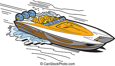 Speedboat On Water - Illustration of a Fast Speedboat on the...