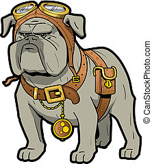 Steampunk Bulldog - Cool Tough Steampunk Bulldog with...