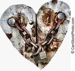 Locked Heart - A heart with chains locked up on white