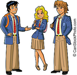 Students In School Uniforms - Three Anime Style Students in...