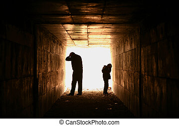 man and child silhouette in tunnel - hopeless and helpless...