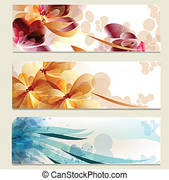 Brochure vector set in floral style - Vector set of business...