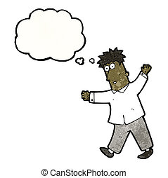 cartoon walking man with thought bubble