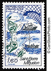 Postage stamp France 1982 Map of St. Pierre and Miquelon -...