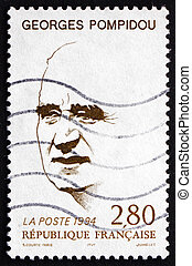 Postage stamp France 1994 Georges Pompidou, French President...