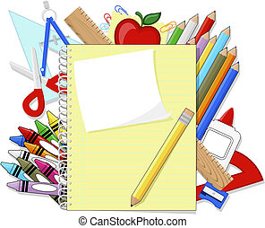 school education supplies items and note book isolated on...
