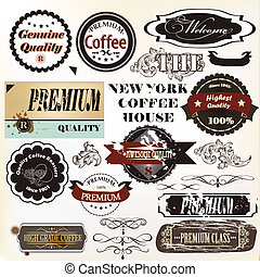 Vector set of retro grunge labels - Vector set of vintage...