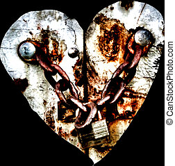 Valentine heart - A Valentine heart with rusty chains and a...