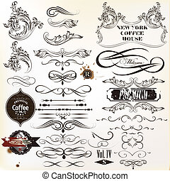 Vector set of vintage calligraphic - Vector set of...