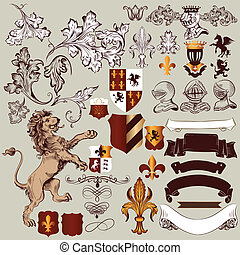 Vector set of vintage heraldic - Vector set of luxury royal...
