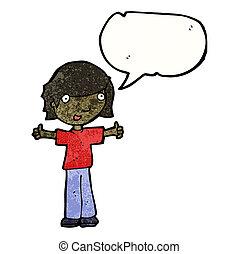 cartoon boy giving thumbs up symbol