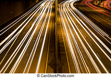 Traffic rush hour - A time exposure of traffic jam during...
