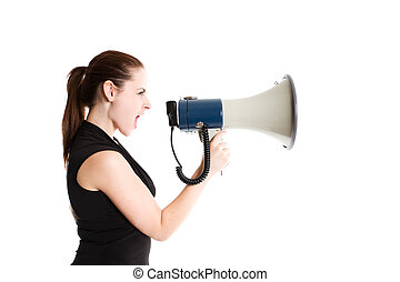 Shouting businesswoman - An isolated shot of a caucasian...