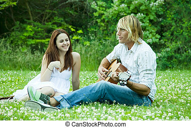 Happy caucasian couple - A happy caucasian couple spending...