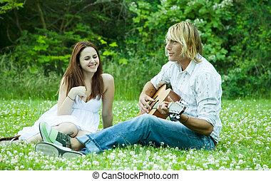 Happy caucasian couple - A happy caucasian couple spending...